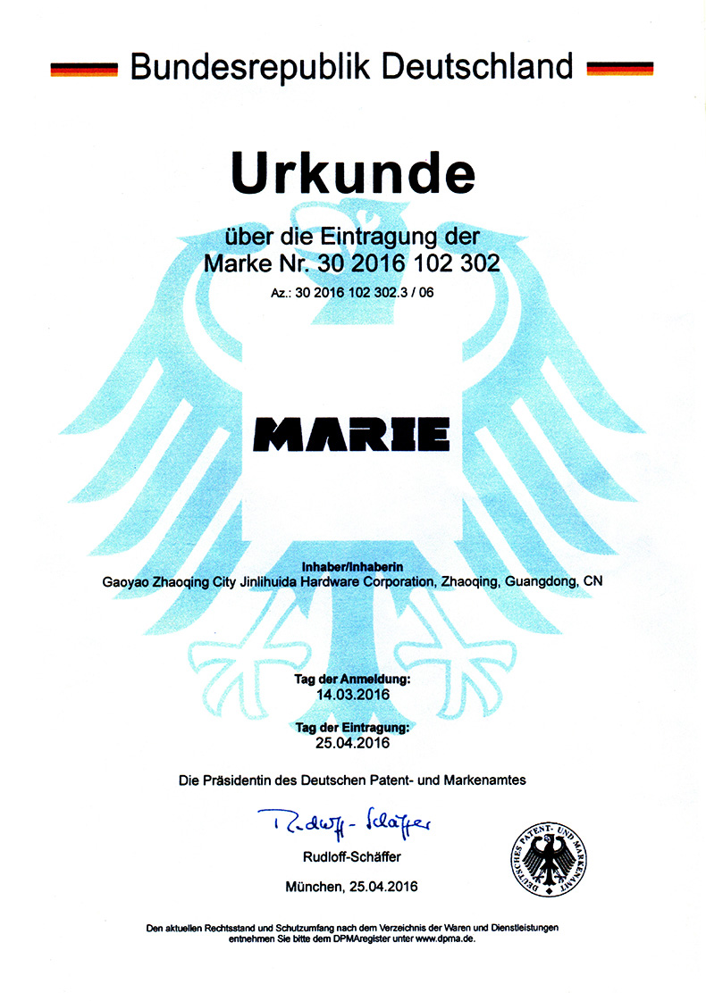 German MARIE trademark registration certificate